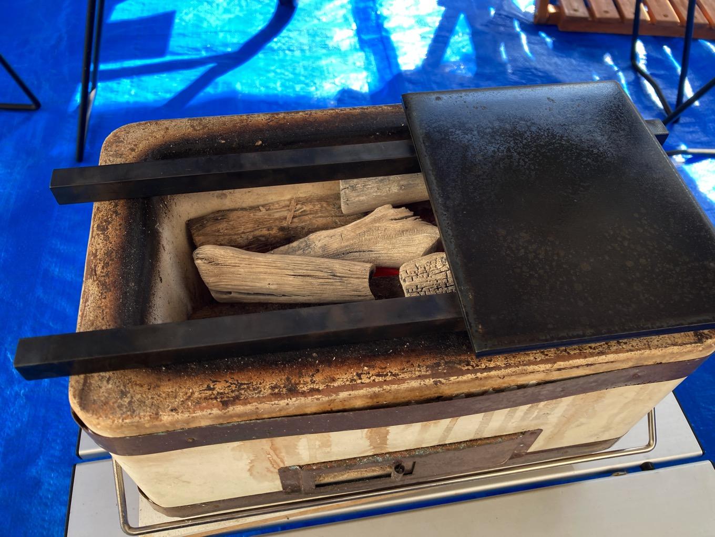 焼く前の鉄久と鉄板